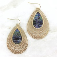 Mesmerized Abalone & Gold Drop Earrings