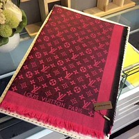 LV Louis Vuitton Popular Women Men Tassel Cashmere Scarf Shawl Silk Scarf Accessories Pink I
