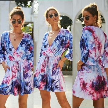 Hot sale summer tie-dyed jumpsuit casual shorts