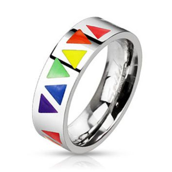 Multi Rainbow Triangles Band Ring Stainless Steel