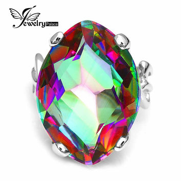 Antique Huge 30ct Rainbow Fire Mystic Topaz Ring For Women Concave Cut Solid 925 Sterling Silver Ring For Women Fashion Jewelry