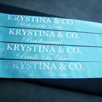Tiffany & Co. inspired Bridal Party Bachelorette Hens Night Sash