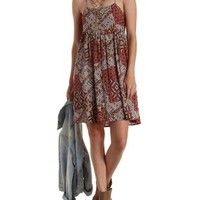 Rust Combo Strappy Back Scarf Print Babydoll Dress by Charlotte Russe