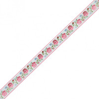 German Pink and Green Floral Jacquard Ribbon - 0.875