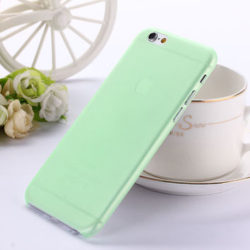 Translucent Slim Soft Plastic 0.3mm Ultra Thin Matte Green Phone Case Cover Skin for iPhone 6 6s