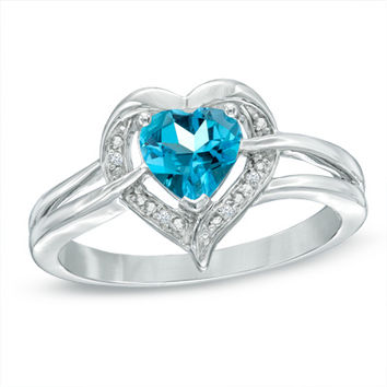 6.0mm Heart-Shaped Blue Topaz and Diamond Accent Ring in Sterling Silver