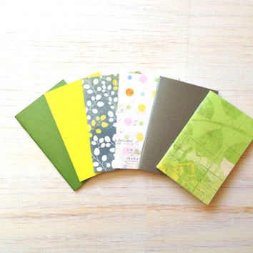 Notebooks: 6 Tiny Journals Set, Green, Party Favors, Wedding, Natural, Rustic, For Her, Journals, Jotters, Mini Journals, Small - Set of 6