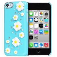 Fosmon GEM-SUN Daisy Flowers & Rhinestone 3D Design Bling Hard Case for the Apple iPhone 5C - Retail Packaging (Sky Blue)