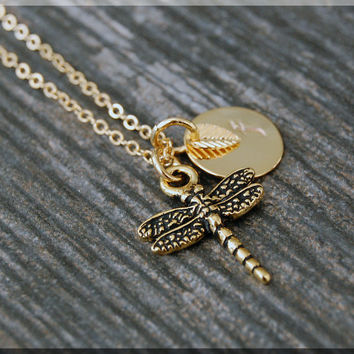 Gold Dragonfly Necklace, Initial Charm Necklace, Personalized Necklace, Insect Charm Necklace, Dragonfly pendant, Insect Jewelry