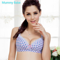 new Nursing bra fashion british style plaid maternitybra Pregnant woman maternityMaternity Breastfeeding Clothes