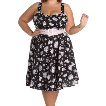 Hell Bunny Plus size Kawaii Cute Cat Kitten & Flower Print Belted Party Dress