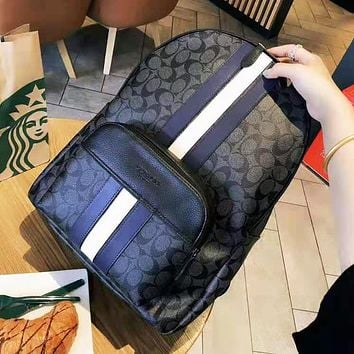 Coach fashion selling casual ladies printed striped backpacks