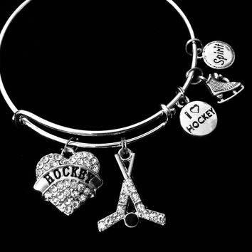 I love Hockey Jewelry Expandable Charm Bracelet Adjustable Wire Bangle Sports One Size Fits All Gift Unique Trendy Coach Team