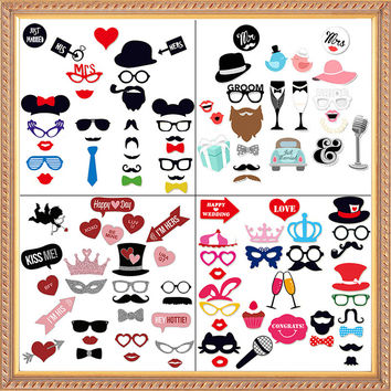2017 New Wedding Decoration Photo Booth Props Funny Glasses Mustache Birthday Party Supplies Photobooth 22 27 31Pcs