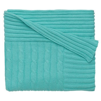 Classic Cotton Cable Knit Blanket (Aqua)