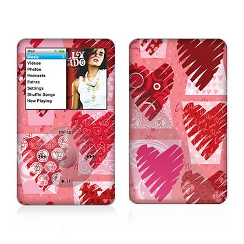 The Etched Heart Layer Pattern Skin For The Apple iPod Classic