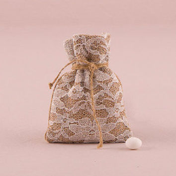 Rustic Chic Burlap and Lace Drawstring Favor Bag (Sold in Quantity's of 12)