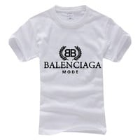 Balenciaga 2019 new double B letter printed solid color round neck half sleeve T-shirt White