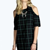 Tasha Woven Cold Shoulder Tartan Dress