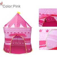 Children  Tent Baby Toy Play Game House Yurts Kids Princess Prince Castle Pink Blue Indoor Outdoor Toys Tents Christmas s 7378