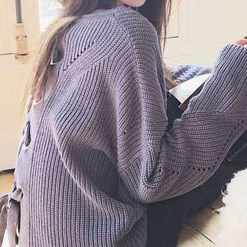 Blue Lace Up Back Long Sleeve Knit Sweater