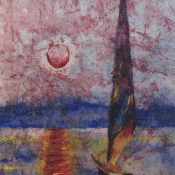 Abstract Seascape with Sailboat Original Watercolor Batik on Rice Paper