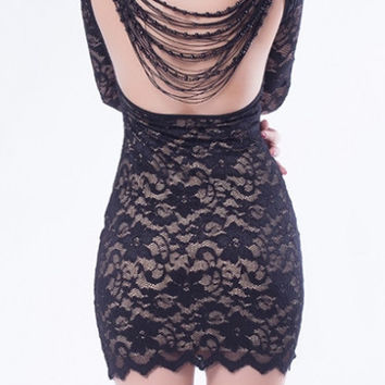 Lace Open Back 'Nude' Beaded Bodycon Mini Dress