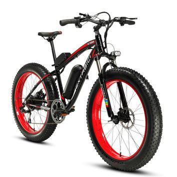Extrbici XF660 Red Black 4.0 Fat Tire Cruiser Electric Bike Snow  Beach Road eBike 500Watt 48V 10.4ah Lithium Battery Disc Brake
