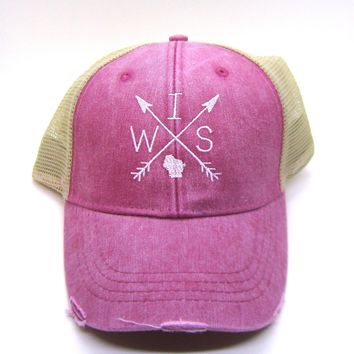 Wisconsin Trucker hat - Red Distressed Snapback - Wisconsin Arrow Compass