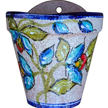 Wall Hanging Flower Pot (Blue Corazon) - Hand Painted in Spain