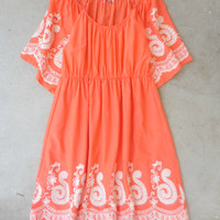 Bohemian Tangerine Cotton Dress [7329] - $38.00 : Feminine, Bohemian, & Vintage Inspired Clothing at Affordable Prices, deloom