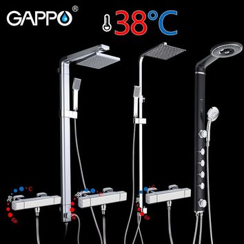 GAPPO shower faucet thermostat mixer tap Square waterfall wall mount ABS Panel Massage bathtub shower bathroom taps