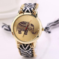 Elephant watch, bracelet, Unique Women's Rope Knitted Chain Round Elephant Dial Analog Quartz Wrist Watch