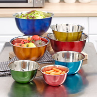 7 Piece Multicolor Stainless Steel Bowl Set Mixing Serving Nesting