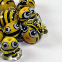 Made to order - lampwork glass charm beads - bones - ladybugs - bumble bees - sunshine - butterflies - by Izzybeads SRA UK
