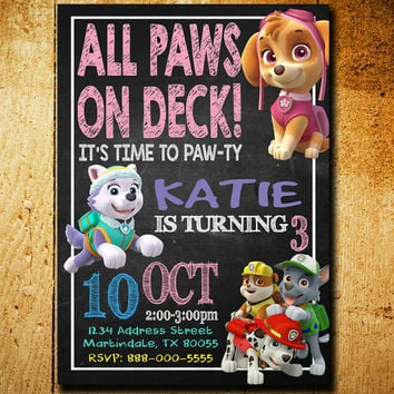 Invitations - Paw Patrol Invitation - Paw Patrol Birthday - Paw Patrol Invitations - Girls Party - Girl Paw Patrol - F34