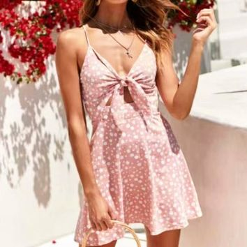 Fashion New Floral Print Straps Dress Women Pink