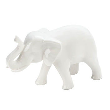 Sleek White Elephant Figurine