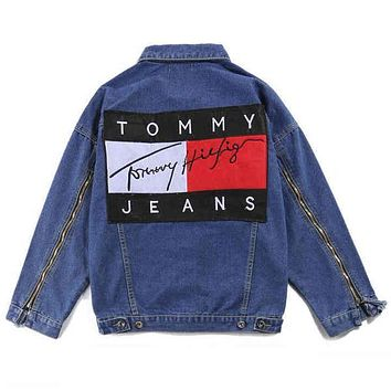 Trendsetter Tommy Hilfiger Fashion Distressed Denim Cardigan Jacket Coat