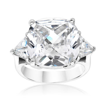 SusanB.Designs 5.5 Carat Simulated Diamond Cushion Cut Ring Sterling Silver