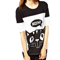 Black Cat Print Round Neckline T-Shirt