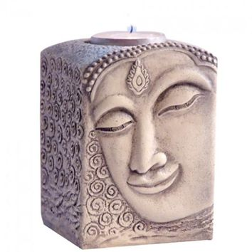 Buddha Face Carved Religious Tea Light Candle Holder