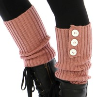 Triple Button Ribbed Knit Leg Warmers [Pink]