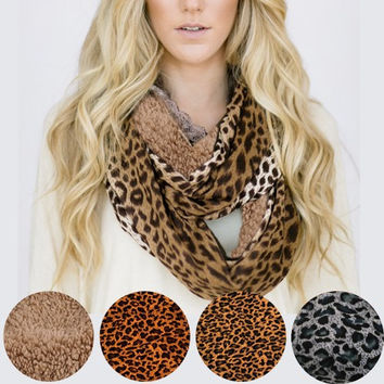 ROAR! Leopard Print High Quality Infinity Sherpa Fashion Scarves
