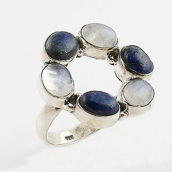 Lapis & Moonstone Sterling Silver Circle Ring