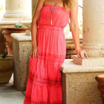 SASSY SENORITA MAXI DRESS IN CORAL