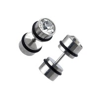 Fake Plugs 2 Pieces Stainless Steel 16G Studs with CZ - 2G Gauges Look