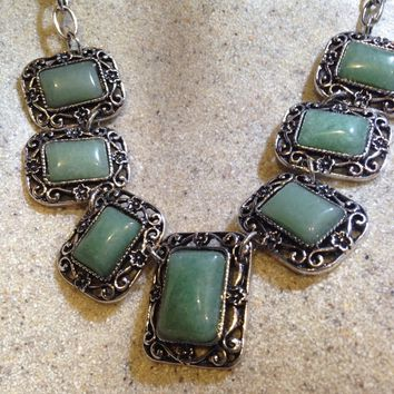 Vinate Green Aventurine Silver Finish necklace