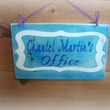 Personalized Office Sign, Welcome Sign, Door Sign, Handmade, Hand Painted Sign, Entrance Sign, Custom Sign, Wood Sign