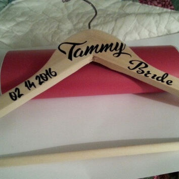 Natural Handcrafted personalized wedding hangers for bride / bridesmaids. Name, title, date.